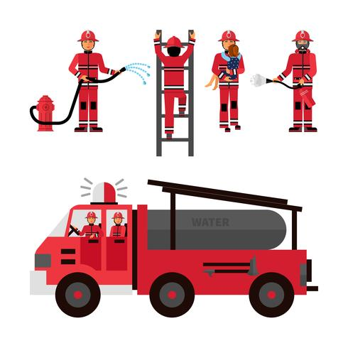Firefighter decoratieve Icons Set vector