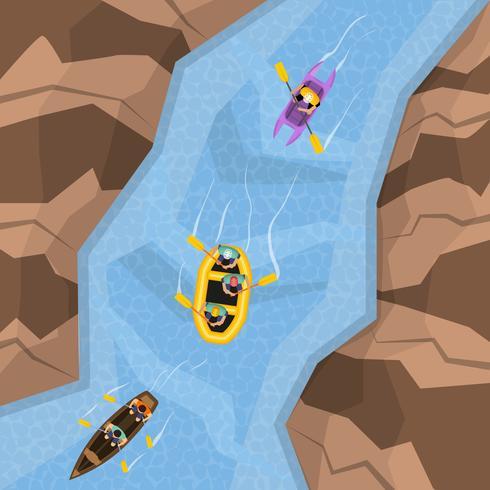 Raften op rivier bovenaanzicht vector