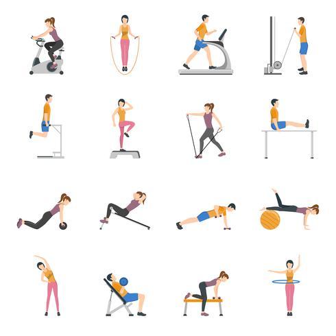 Mensen trainen bij Gym Icons Set vector