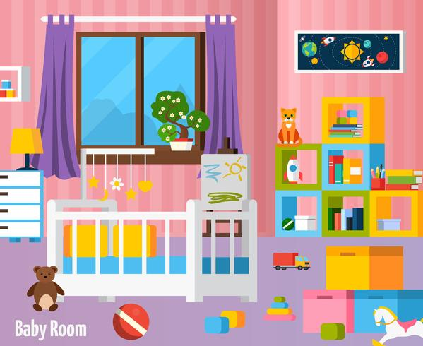 Babykamer plat kleurrijke samenstelling vector