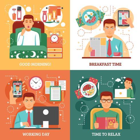 Man dagelijks routine ontwerpconcept vector