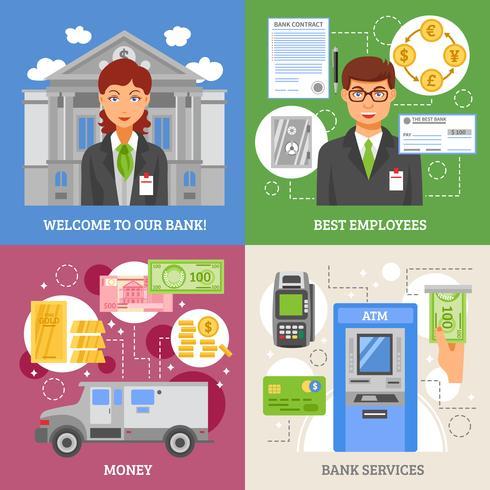 bankdiensten 2x2 ontwerpconcept vector