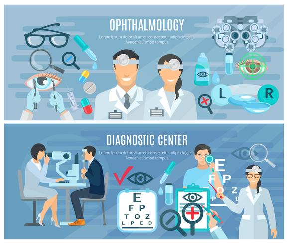 Oftalmisch diagnostisch centrum Flat Banners Set vector