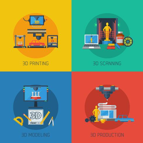 3D Printing Flat Icons Square samenstelling vector