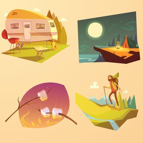Camping en wandelen Cartoon Set vector