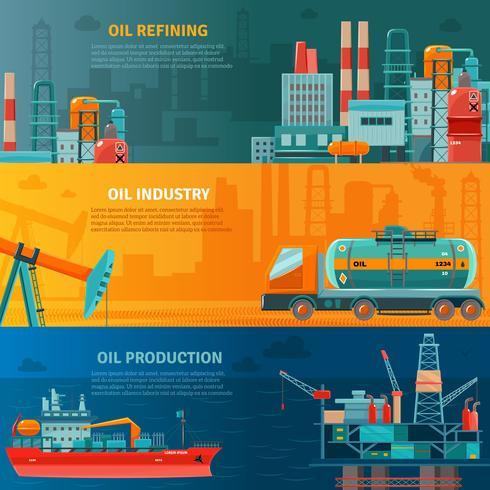 Olie-industrie horizontale banners instellen vector