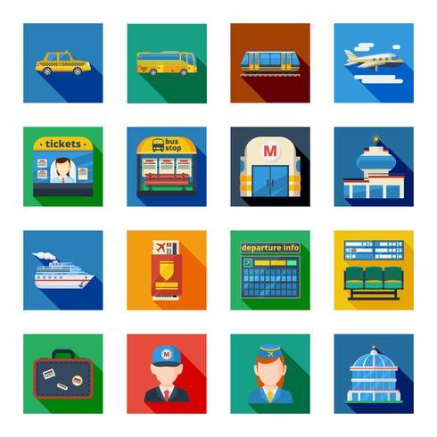 Passagiersvervoer Platte vierkante pictogrammen vector
