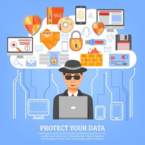 Netwerkbeveiligingsconcept vector