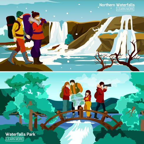 Waterval landschappen composities vector
