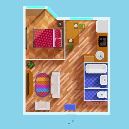 Plattegrond van appartement met één slaapkamer vector