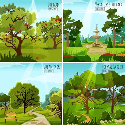 Tuinlandschap 2x2 ontwerpconcept vector
