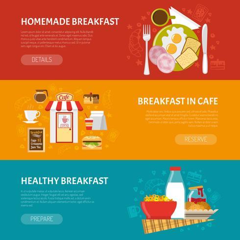 Ontbijt Banners Set vector