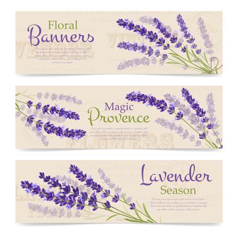 Horizontale Banners van lavendelbloemen vector