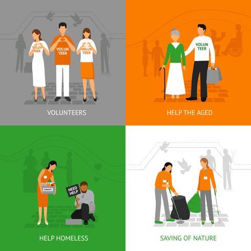 Het ontwerpconcept van vrijwilligers vector