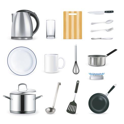 Realistische keukenbenodigdheden vector