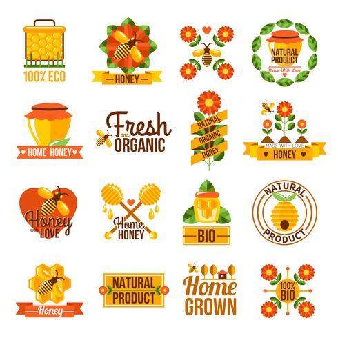 Organische natuurlijke Honey Label Set vector