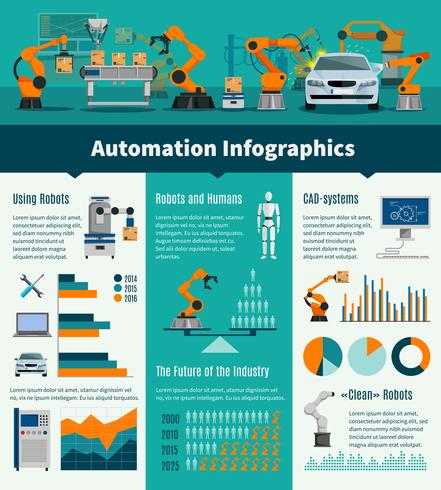 Automatisering Infographic Set vector