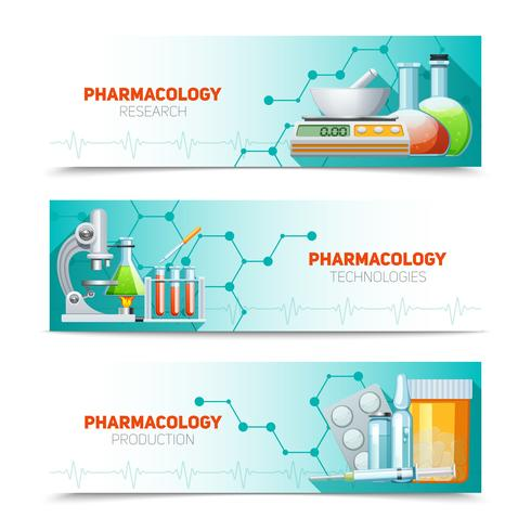Farmacologie 3 horizontale bannersenset vector