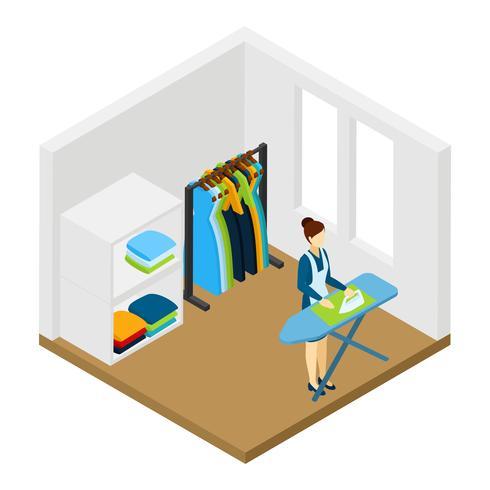 Huishoudelijke karweitjes strijken Isometrische Pictogram Banner vector