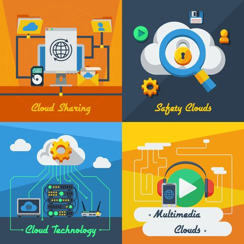 Cloud Service 2x2 ontwerpconcept vector