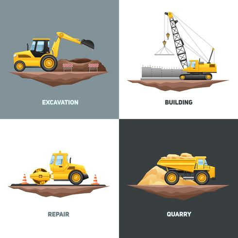 Bouwmachines 4 Flat Icons Square vector