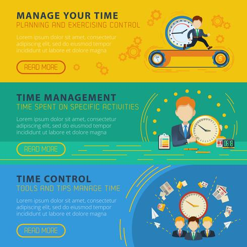 Time Management Horiizontale Banners Set vector