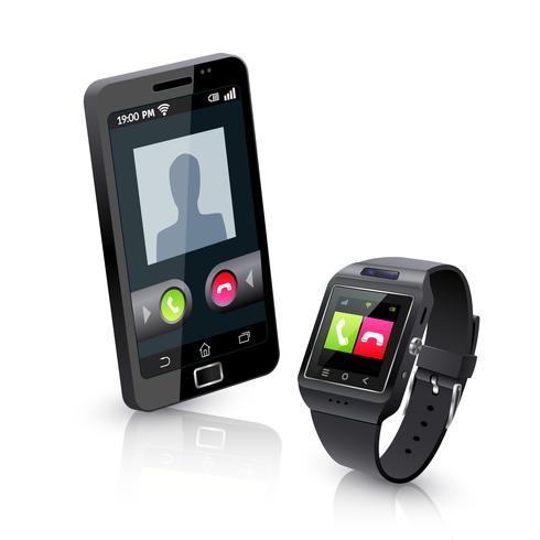 Slim horloge met telefoon realistische compositie vector
