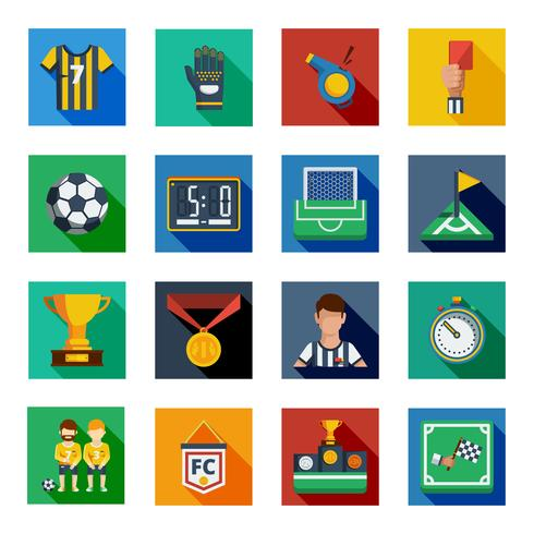 Voetbal Flat Squared Icon Set vector