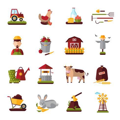 Boer boerderij huishouden plat pictogrammen collectie vector