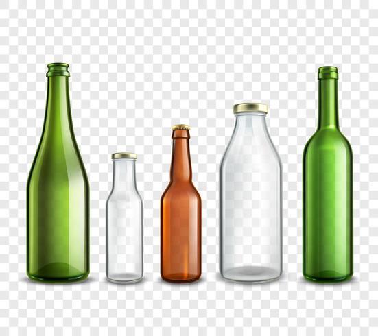 Glazen flessen transparant vector