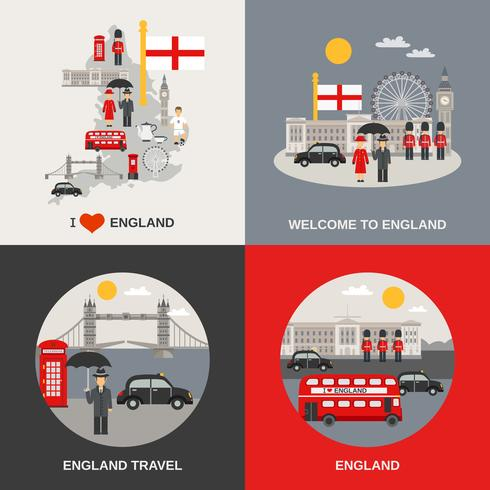 Engeland Cultuur Reizen 4 plat pictogrammen vector