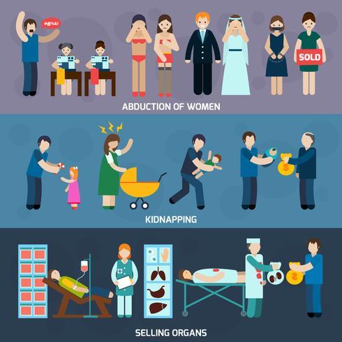 Mensenhandel Horizontale platte banners Set vector