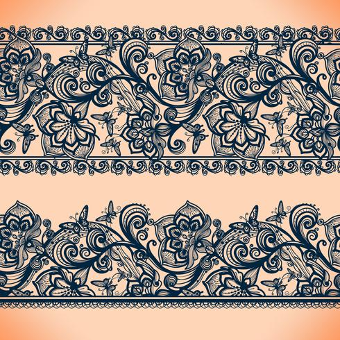 Abstract Lace Ribbon-banners. Sjabloon frame ontwerp voor kaart. Lace Doily. vector