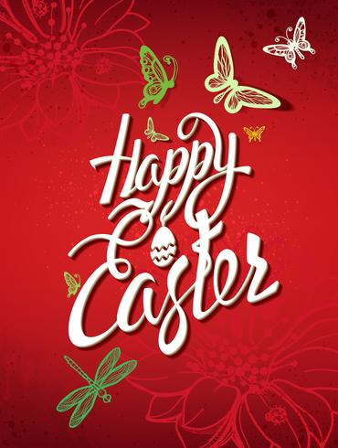 Gelukkig Pasen-teken, symbool, embleem op een rode achtergrond. vector