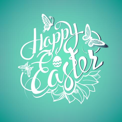 Gelukkig Pasen-teken, symbool, embleem op een groene achtergrond met de bloemen. vector