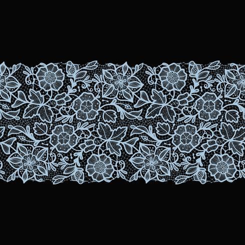 Abstracte kant lint naadloze patroon met elementen bloemen. vector