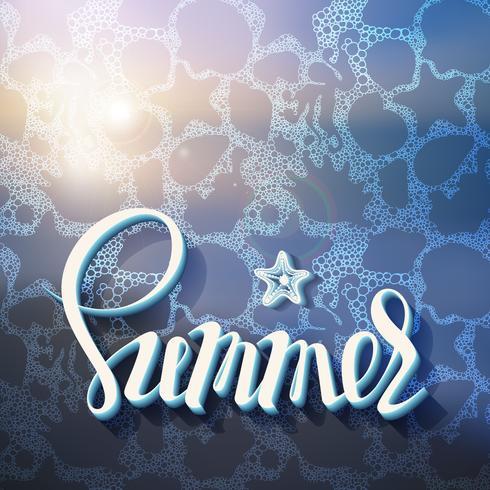 Artistieke inscriptie op de achtergrond van de zomer zee schuim van oceaanbewoners, poster, kalligrafie symbool, brief, vakantie. vector