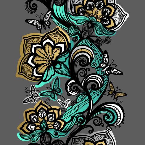 Abstract naadloos kantpatroon. bloemen, vlinders textuur. vector