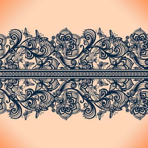 Abstract naadloos kantpatroon met bloemen en vlinders. vector