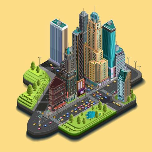 Vector isometrische 3d stadskaart, een deel van het wolkenkrabberdistrict van pictogrammen die uit gebouwen, weg, straatkruisingen bestaan.