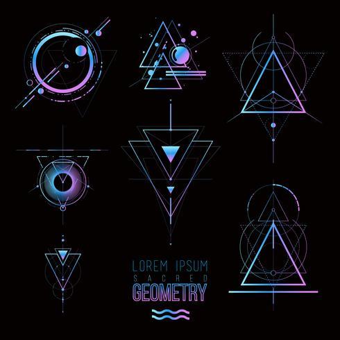 Heilige geometrie vormen, vormen van lijnen, logo vector