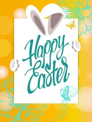 Gelukkig Pasen-teken, symbool, embleem op een gele achtergrond met de bloemen. vector
