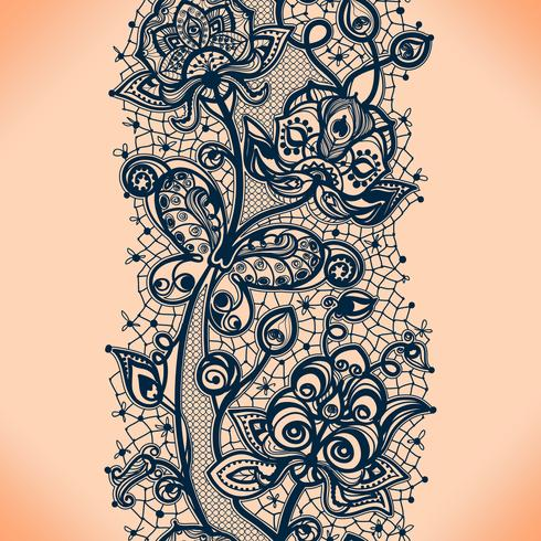 Abstracte kant lint naadloze patroon met elementen bloemen. Sjabloon frame ontwerp voor kaart. vector