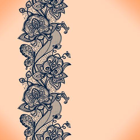 Abstracte kant lint naadloze patroon met elementen bloemen. Sjabloon frame ontwerp voor kaart. Lace kleedje. vector