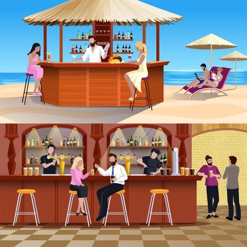 Cocktail mensen samenstelling set vector