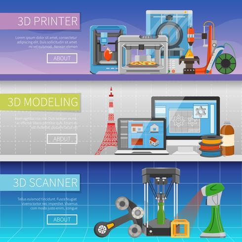 3D Horizontale banners afdrukken vector
