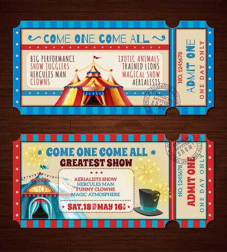 circus retro tickets banners instellen vector