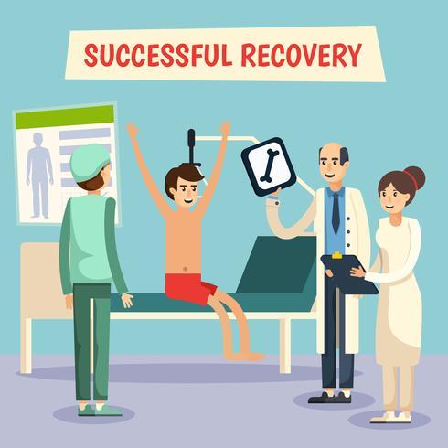 Ziekenhuisartsen patiënt platte poster vector