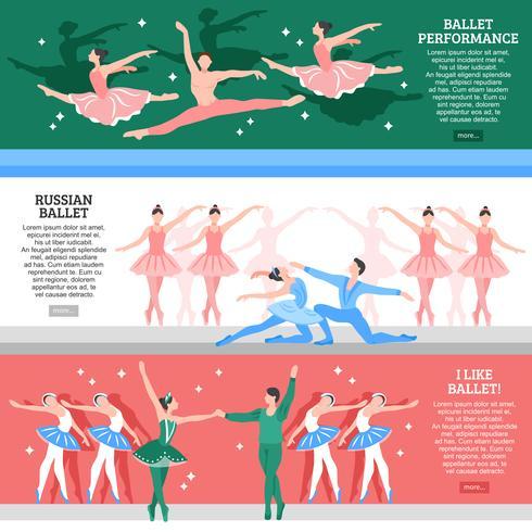 Ballet platte Banners Set vector