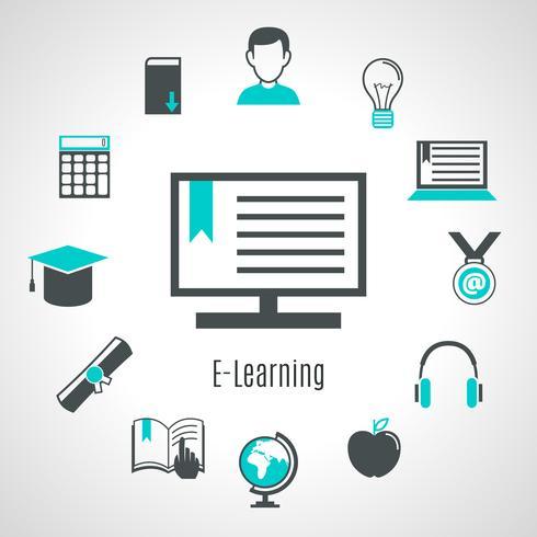 Minimalistische stijl e-learning samenstelling vector